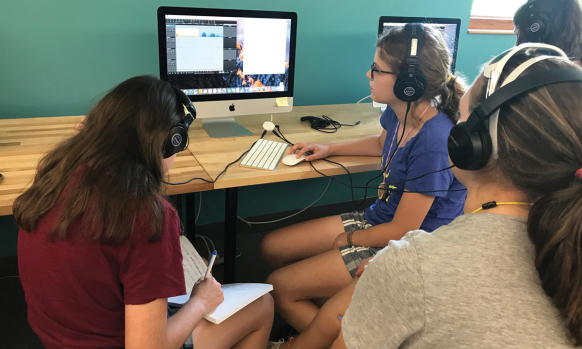 Science Stories camp edits their podcast.