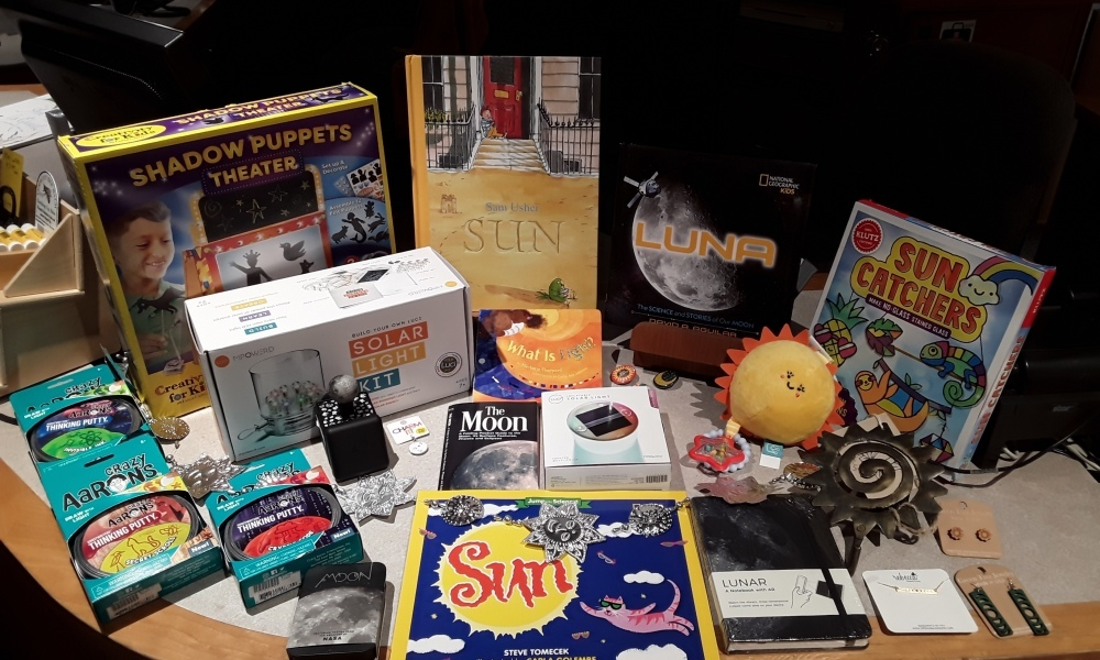 Enjoy the sun, moon, and stars with books, jewelry, and science kits