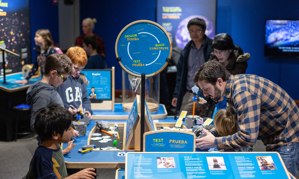 Packed with engaging, hands-on interactive exhibits, Sun, Earth, Universe will connect you with current NASA science research and launch you on a journey to explore the universe!