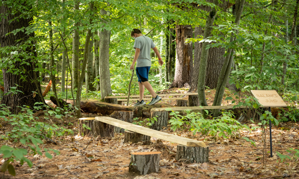 Test your grace and agility through a path of wood beams, colorful tree trunks, and logs.
