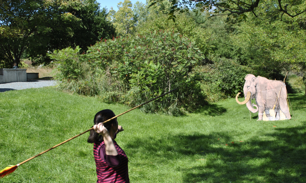 Tests your strength and accuracy as you learn how to throw an atlatl!